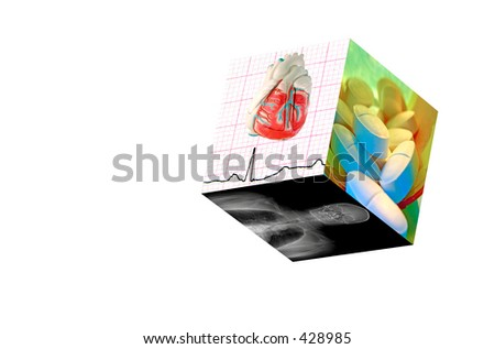 Medical Cube with 3 photos:1)Real EKG with a model heart. 2)MRI of a male human. 3) Prescription Pills (8MP camera,isolated)