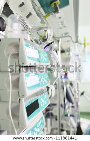 medical devices, drip infusion sets, and other equipment in operation.