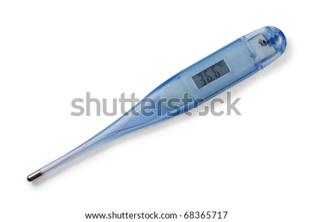 Medical digital thermometer. On display 36,6 celsius. Isolated on white background with clipping path.