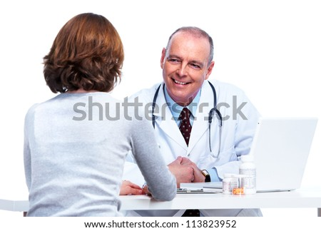 Medical doctor and patient woman. Isolated on white background.