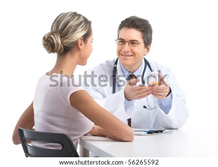 Medical doctor and young woman patient. Isolated over white background