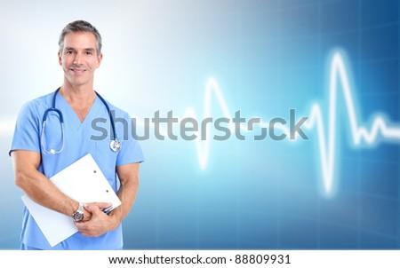Medical doctor cardiologist. Over blue background. Health care.