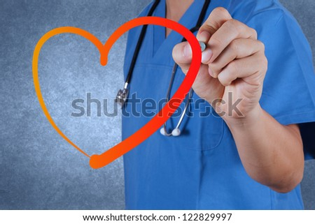 medical  doctor drawing heart symbol