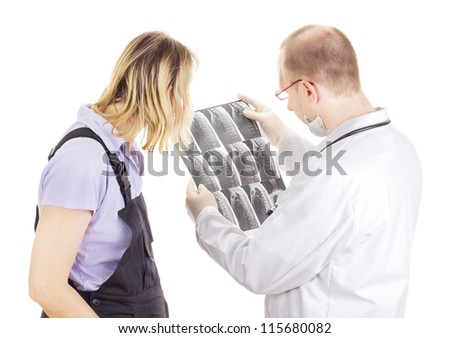 Medical doctor explains patient radiograph