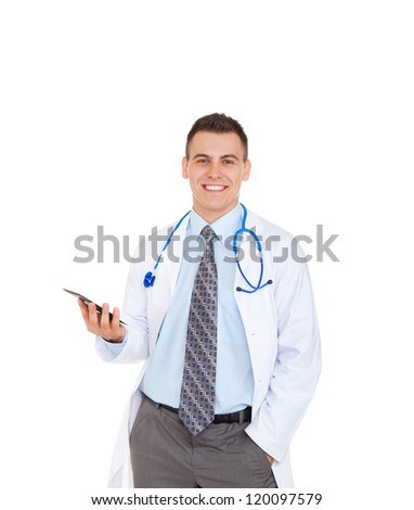 medical doctor man smile with stethoscope hold computer tablet touch screen pad. Happy toothy smiling Isolated over white background