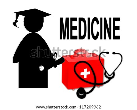 Medical doctor MD / school graduate / stethoscope and first aid kit - illustration / icon isolated on white background