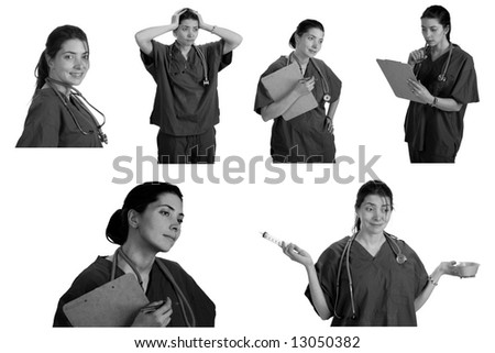 Medical Doctor or Nurse images isolated on white in black and white