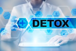 Medical doctor using tablet PC with detox medical concept.