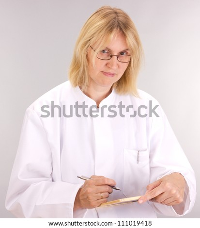 Medical doctor with blackboard