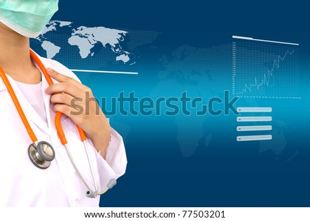 Medical doctor with cardio sttethoscope on white background