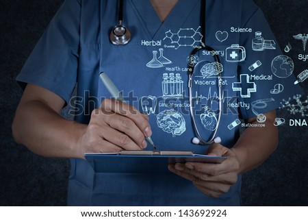 medical doctor with stethoscope writing on texture background