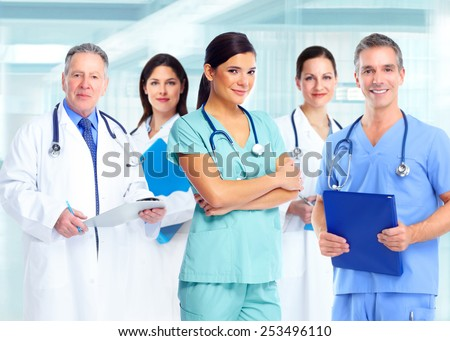 Medical doctor woman over health care background