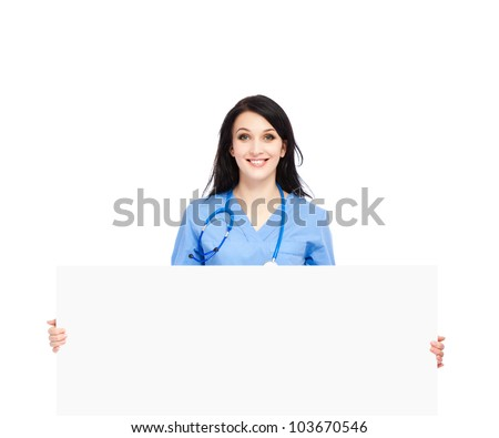 medical doctor woman smile with stethoscope hold blank card board, concept of advertisement product, empty copy space. nurse wear blue surgery suit Isolated over white background
