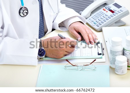 Medical doctor working in the office