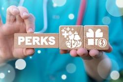 Medical Employee Perks Concept. Medicine Worker Benefits. Healthcare Workers Privilege Compensation.