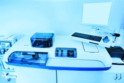 Medical equipment and apparatus for biochemistry in a modern laboratory. Copy space
