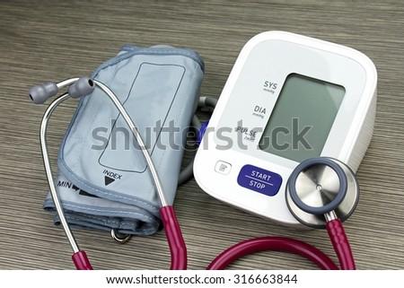 Medical equipment, Chek up equipment, Examining equipment, Stethoscope, Digital Blood Pressure Monitor.