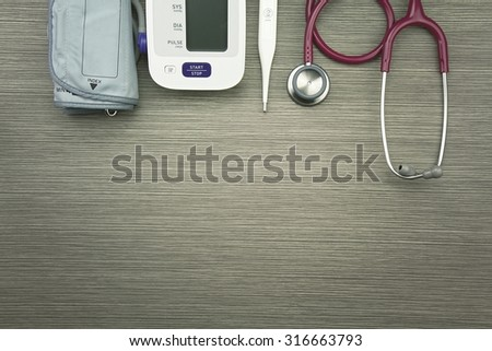 Medical equipment, Chek up equipment, Examining equipment, Thermometer, Stethoscope, Digital Blood Pressure Monitor. (Vintage Style Color)