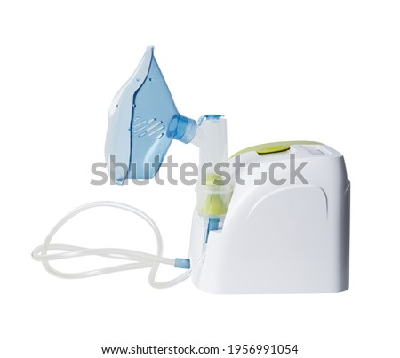 Medical equipment for inhalation with respiratory mask. Nebulizer isolated on white background with clipping path. Asthma breathing treatment. Bronchitis, asthmatic health equipment Foto stock ©
