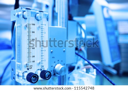 medical equipment. Gas mixer. Stylized photo.