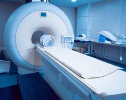 Medical equipment. MRI room in hospital. Background