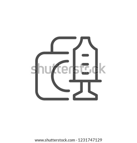 Medical equipment toy line icon isolated on white