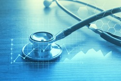 Medical examination and healthcare business concept, Big Data for health analytics,  healthcare marketing strategy
