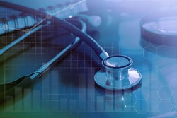 Medical examination and healthcare business graph, health information analytics, healthcare marketing strategy
