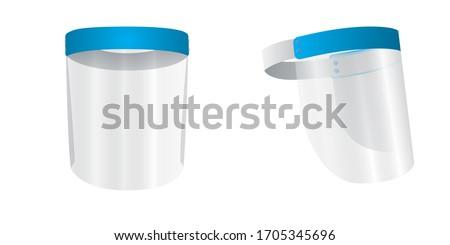 Medical face mask or shield. Transparent plastic helmet. Coronavirus quarantine concept. Protective measures for flu. Virus outbreak prevention and pollution protection. 3 d render