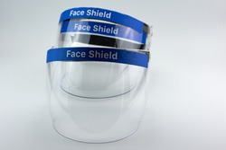 Medical face shield, transparent plastic helmet.