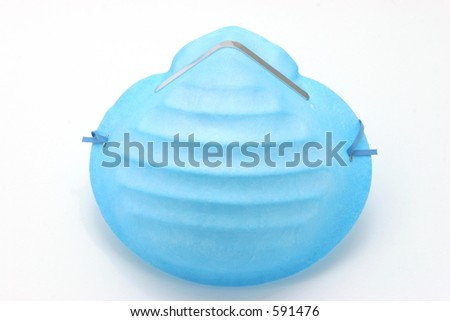 Medical facemask over white background.