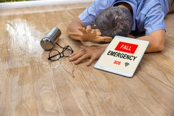 Medical fall accident detection is alert that senior man falling  because slippery surfaces