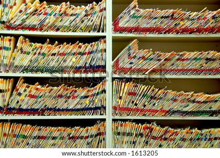 Medical files with patient information in doctor's office