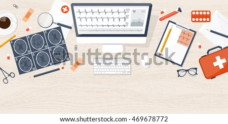 Medical flat background. Health care,first aid,research, cardiology. Medicine study.Chemical engineering,pharmacy - Shutterstock ID 469678772