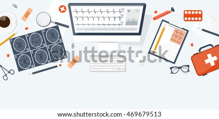 Medical flat background. Health care,first aid,research, cardiology. Medicine study. Chemical engineering, pharmacy - Shutterstock ID 469679513