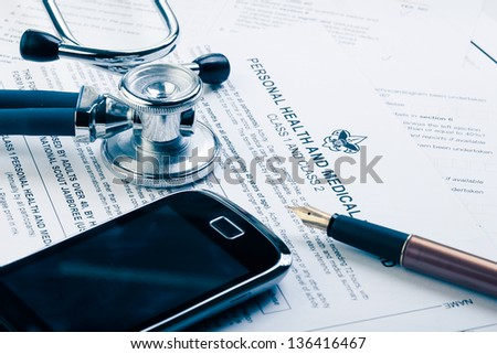 Medical form in blue tone