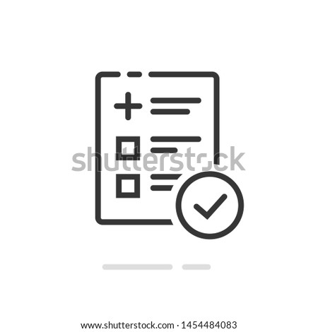 Medical form list with results data and approved check mark icon, line outline art clinical checklist document with checkbox symbol, insurance or medicine service sign, prescription record image