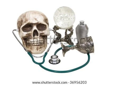 Medical future shown by a stethoscope with a crystal ball, flask and goblet - path included