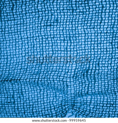 Medical gauze cloth detail texture blue background