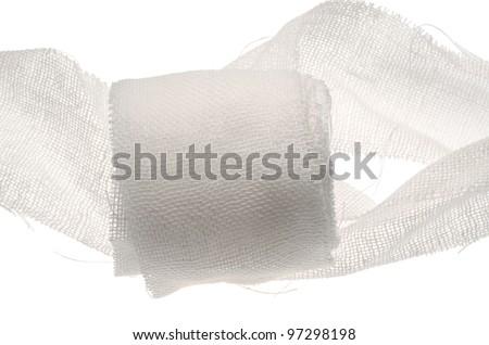 Medical gauze isolated on white