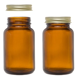 Medical glass bottle mockup. Template, empty label. Empty brown glass bottle for vitamins or supplements - mock-up.