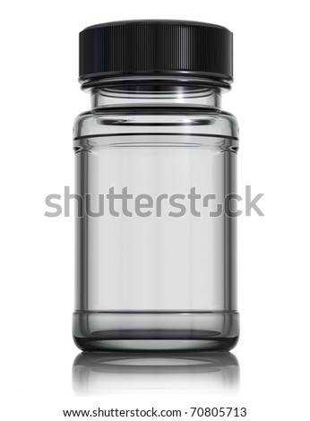 Medical glass bottle with black plastic cap isolated on white background. 3d render