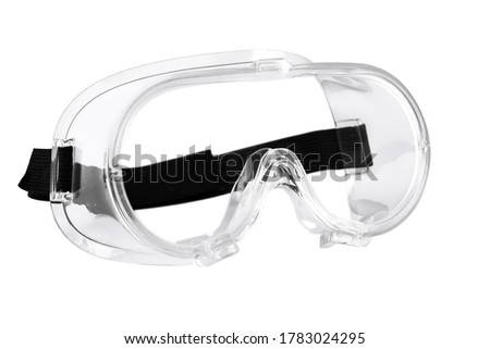 medical goggles, surgical goggles, plastic goggles, in white background