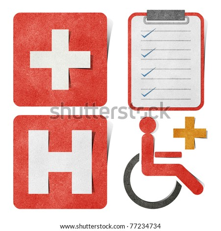 Medical & health-care tag recycled paper craft stick on white background