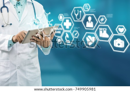 Medical Healthcare Concept - Doctor in hospital with medical icons modern interface showing symbol of medicine, innovation, medical treatment, emergency service, doctoral data and patient health. - Shutterstock ID 749905981