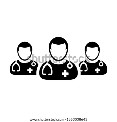 Medical icon group of male doctors person profile avatar for health consultation in a glyph pictogram illustration