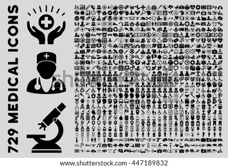 Medical Icon Set with 729 glyph icons. Style is black flat icons isolated on a light gray background.