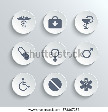 Medical icons set - white round buttons with first aid kit caduceus pills man woman gender and disabled symbols