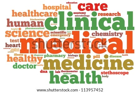 medical info-text graphics and arrangement concept on white background (word cloud)