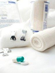 Medical instruments, including dressing, cotton bandage, pill and capsule medication, and bandage staples